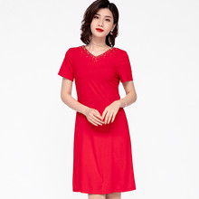 V Neck Office Red Black Plus Size Fashion Ladies Summer Dresses For Women 4xl 5xl 6xl Beading V-neck A Line Casual Dress 2020(China)