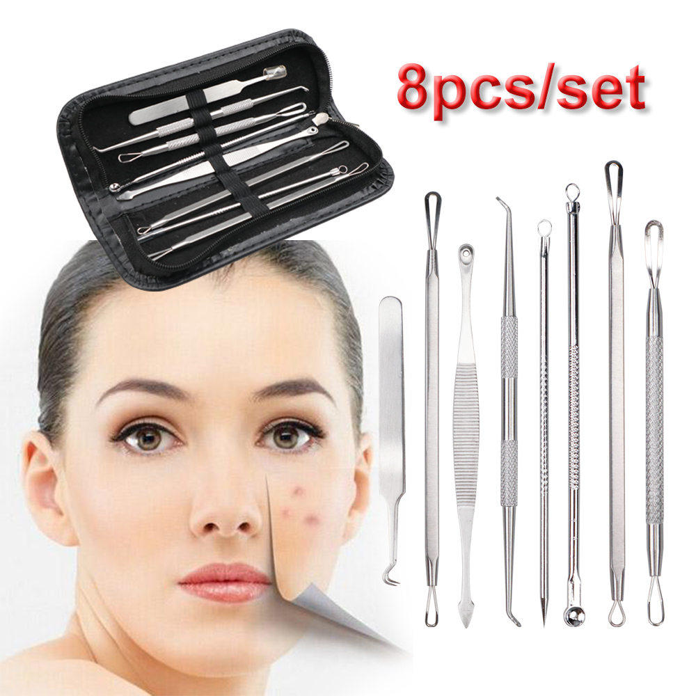 3/8pcs/set Blackhead Comedone Acne Pimple Blackhead Remover Tool Spoon for Face Skin Care Tool Needles Facial Pore Cleaner-4