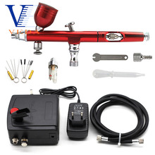цена на Dual-Action Airbrush Compressor Kit 0.2/0.3mm Air Brush Spray Gun Cleaning Tool for Makeup Nail Paint Tattoo Body Car Decoration