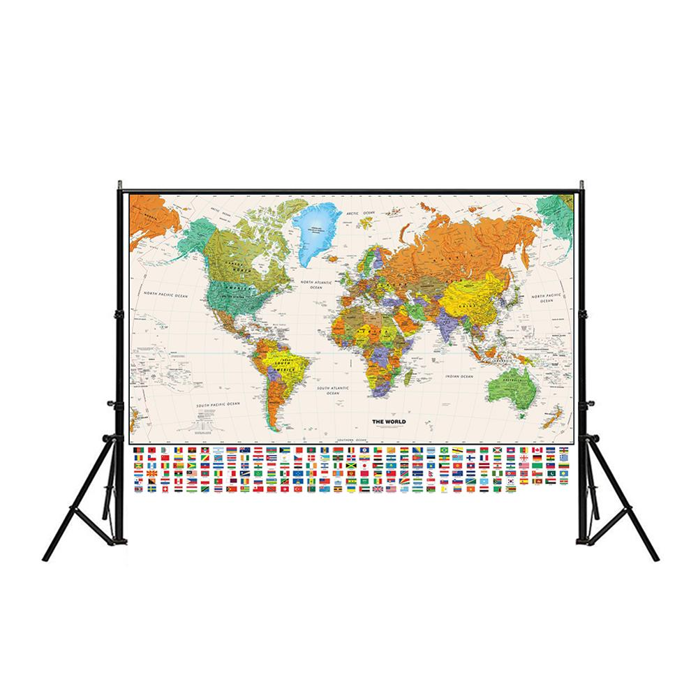 150x100cm The World Physical Map With National Flag Non-woven Spray World Map Wall Decoration For Education And Culture