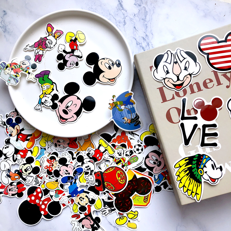 50Pcs Mickey Mouse Waterproof Stickers Albums Graffiti Laptop Skateboard Luggage Guitar Bicycle Children DIY Photo Decal Sticker