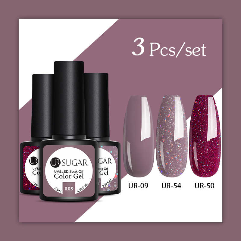 UR Gula 2/3 Pcs Glitter Gel Nail Polish Set Pink Payet Warna Semi Permanen Led Gel Varnish Rendam Off UV gel Pernis Kuku