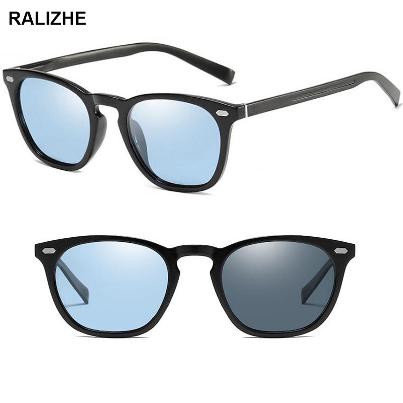 RALIZHE Vintage Driving Photochromic Sunglasses Men Women Polarized Chameleon Discoloration Sun Glasses for Fashion Square