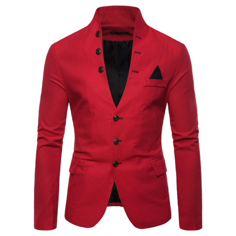 2020 Spring And Autumn New Fashion Business Casual Formal Wear Men's Solid Color Collar Suit Jacket Thin Section Single West