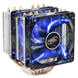 Deepcool neptwin v2 cpu cooler radiador 6 heatpipe duplo 120mm led ventilador azul silencioso para intel 2066 2011 115x amd am4 am3 am2