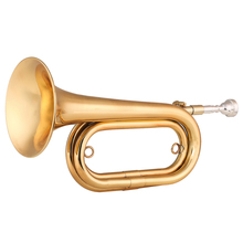 ammoon 13.5 Inch Brass Bugle Call Gold-Plated Trumpet Cavalry Horn with Mouthpiece Carrying Bag Musical Instrument for Beginner