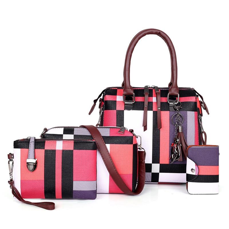 4 Pcs/set Luxury Handbags plaid Women Bags Designer tassel Purses and Handbags Shoulder Bags for women 2020 sac Bolsa Feminina