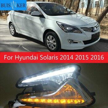 For Hyundai Solaris 2014 2015 2016 LED DRL Daytime Running Light Warning yellow turn Lights Daylight Fog lamp 2pcs