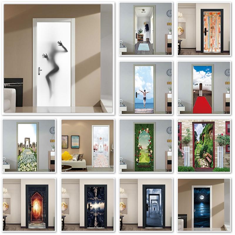Woman Shadow Wallpaper On The Door Custom Size Waterproof Bathroom Sticker Porte Self-adhesive Home Door Decal Toilet Sticker3d