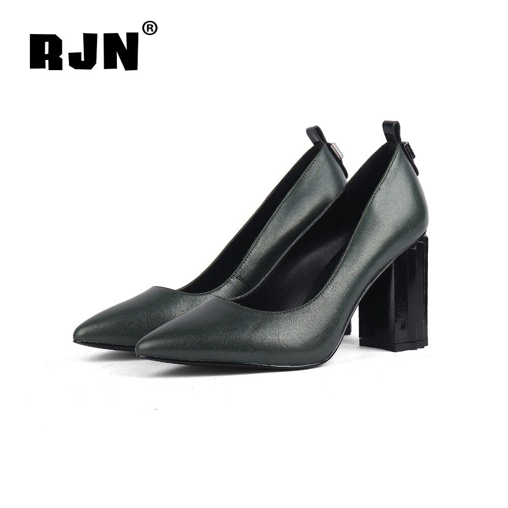 Promo RJN Sexy Pointed Toe Women Pumps Back Matel Decoration Super High Strange Style Heel Shoes Sheepskin Slip-On Shallow Pumps R23