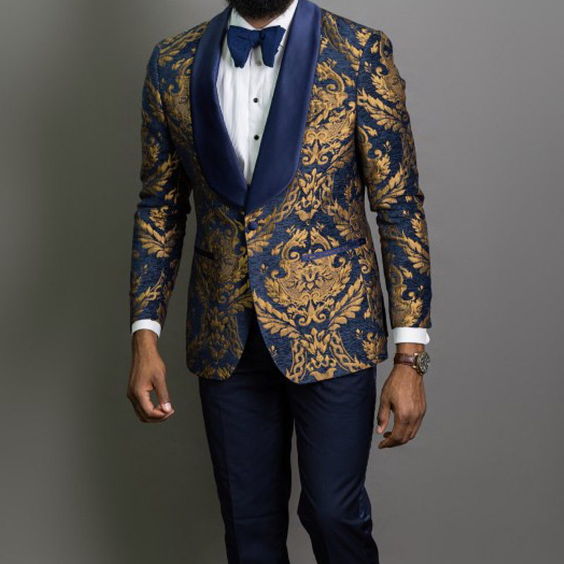 3 piece Gold Jacquard Prom Men Suits with Blue Shawl Lapel Slim fit Groom Tuxedo Male Fashion Costume Blazer Vest with Pants 1