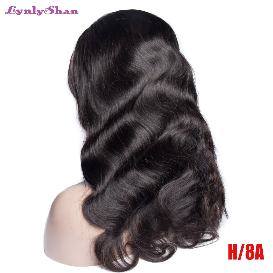 Lynlyshan Human Hair Lace Front Wig Brazilian Body Wave Remy Hair 150% Density Natural Color 13*4 Lace Front Wig Free Shipping