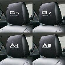 1 pçs auto encosto de cabeça capa dedicada para a1 a3 a4 a5 a6 a7 a8 audi q2 q3 q5 q7 tt acessórios do carro capa de assento estilo do carro