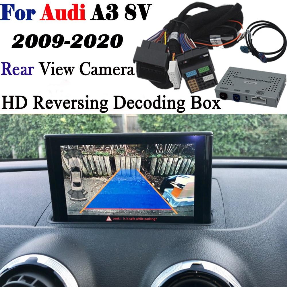 Invertendo a câmera para audi a3 8v s3 mmi 3g 2009 ~ 2020 interface adaptador backup estacionamento frente câmera traseira exibir melhorar decodificador