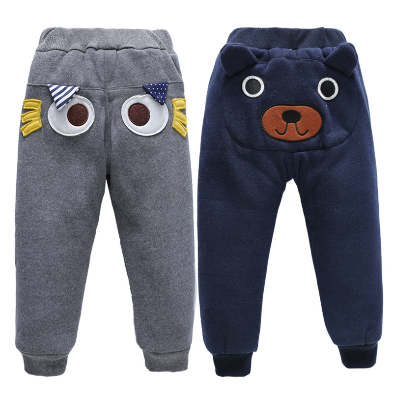 Winter Toddler Boys Winter Warm Trousers Cartoon Children's Trousers for 1-6 Years Boys Plus Velvet Thickening Pants 1