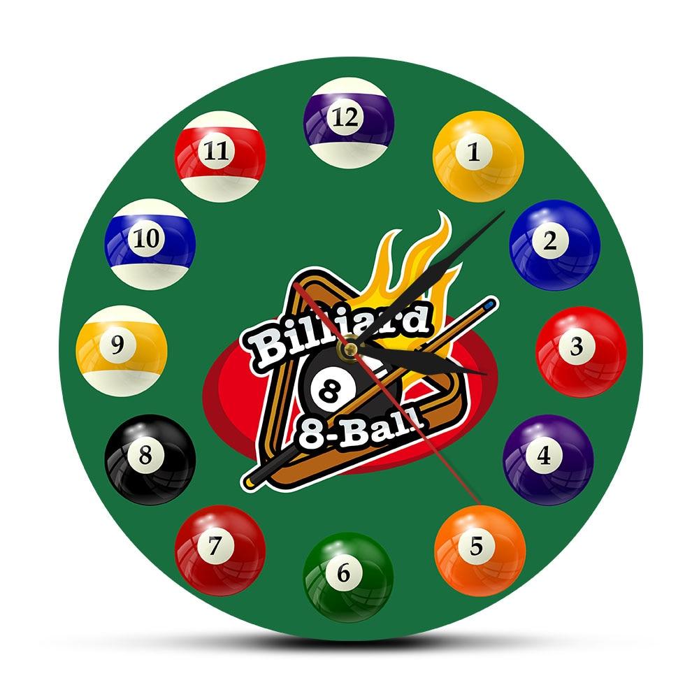 Billiard Balls Colorful Wall Clock Pool Snooker Sports Clock Pool Hall Game Room Decor Modern Wall Watch Billiard Players Gift