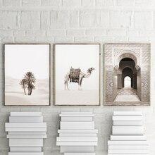 Arte de pared Boho de puerta de Europa marroquí, póster Vintage, pintura en lienzo, carteles del desierto y estampados de camellos, cuadros de pared para sala de estar