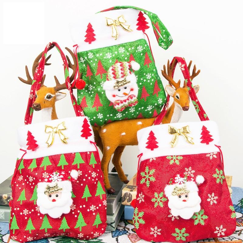 2020 Christmas Gift Bag New Linen Cartoon Christmas Candy Bag Tote Bag Santa Gift Bag Drawstring  Grinch Christmas  Cloth Bags