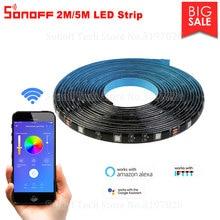 Itead Sonoff 5050RGB 2M/5M LED רצועת Dimmable עמיד למים Flexiable חכם צבעוני אור רצועת לעבוד עם Sonoff L1 בקר