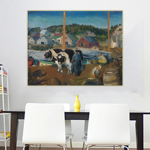 Citon George Bellows《Ox Team, Wharf at Matinicus》Canvas Oil Painting Ash Can School Artwork Picture Wall Decor Home Decoration