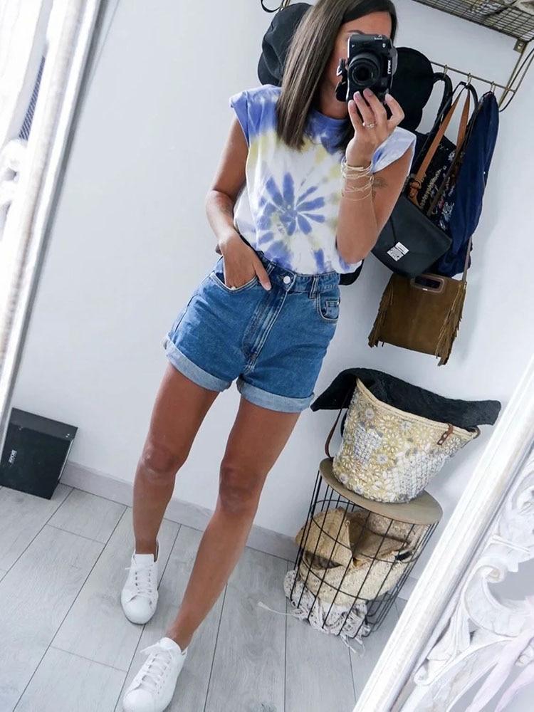 2020 Women za Fashion Solid 95% Cotton Shoulder pad T-shirt Vintage O-Neck Sleeveless Tops Casual Girls Streetwear 13