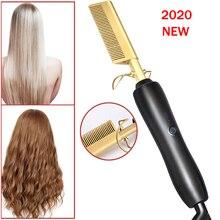 Profesjonalna prostownica do włosów prostownica gorący podgrzewany grzebień prostownica do włosów wygładzająca szczotka falista lokówka Hot Comb