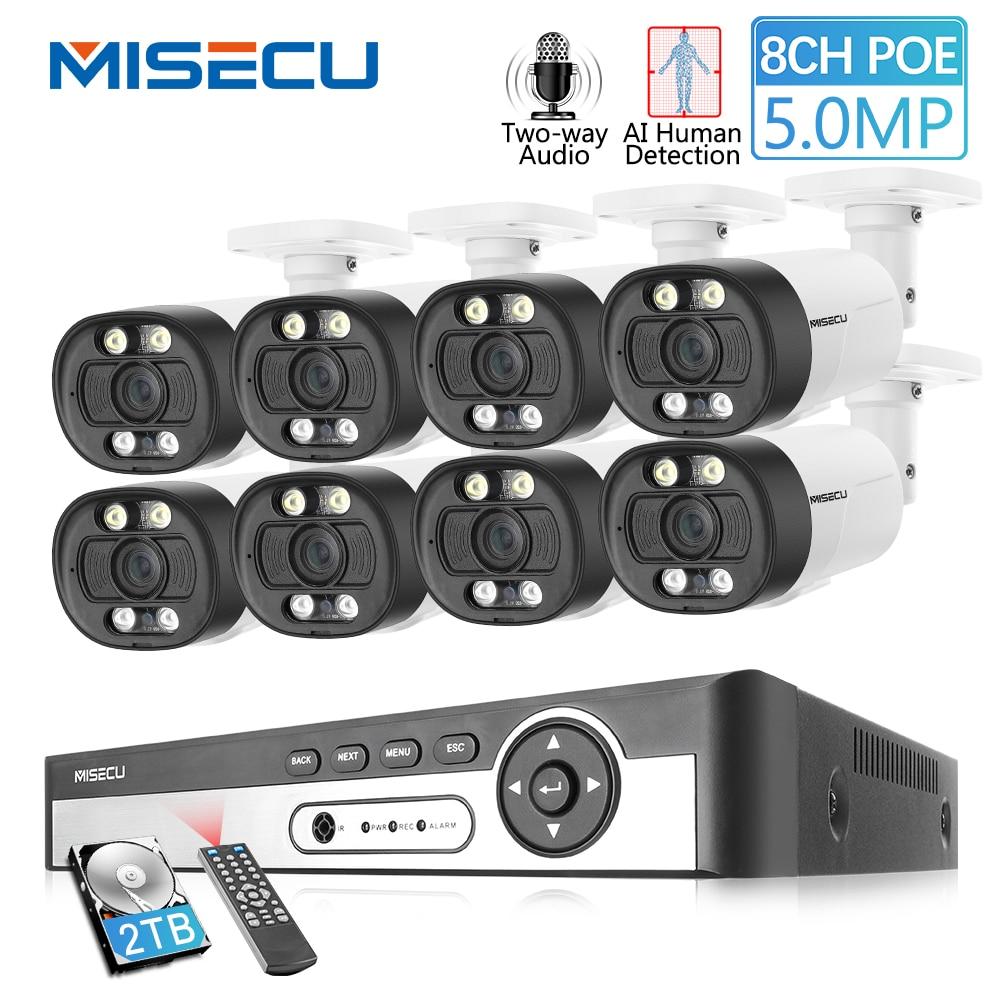 MISECU 8CH Super HD 5MP система видеонаблюдения, металлическая водостойкая наружная AI камера, двухстороннее аудио видео наблюдение-in Система наблюдения from Безопасность и защита on AliExpress
