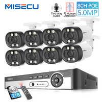 MISECU H.265 8CH 5MP HD POE NVR Kit CCTV Sistema di Sicurezza A Due Vie Audio AI IP Camera Outdoor P2P Video di sorveglianza Set 2TB HDD