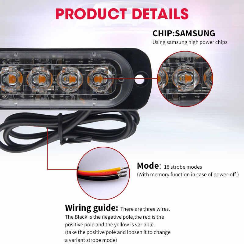 4 المصابيح ستروب مصباح سيارة ضوء تحذير مصبغة فلاش ضوء بار جدا رقيقة شاحنة DC 12V 24V الأحمر الأصفر الأبيض المرور ضوء السلامة