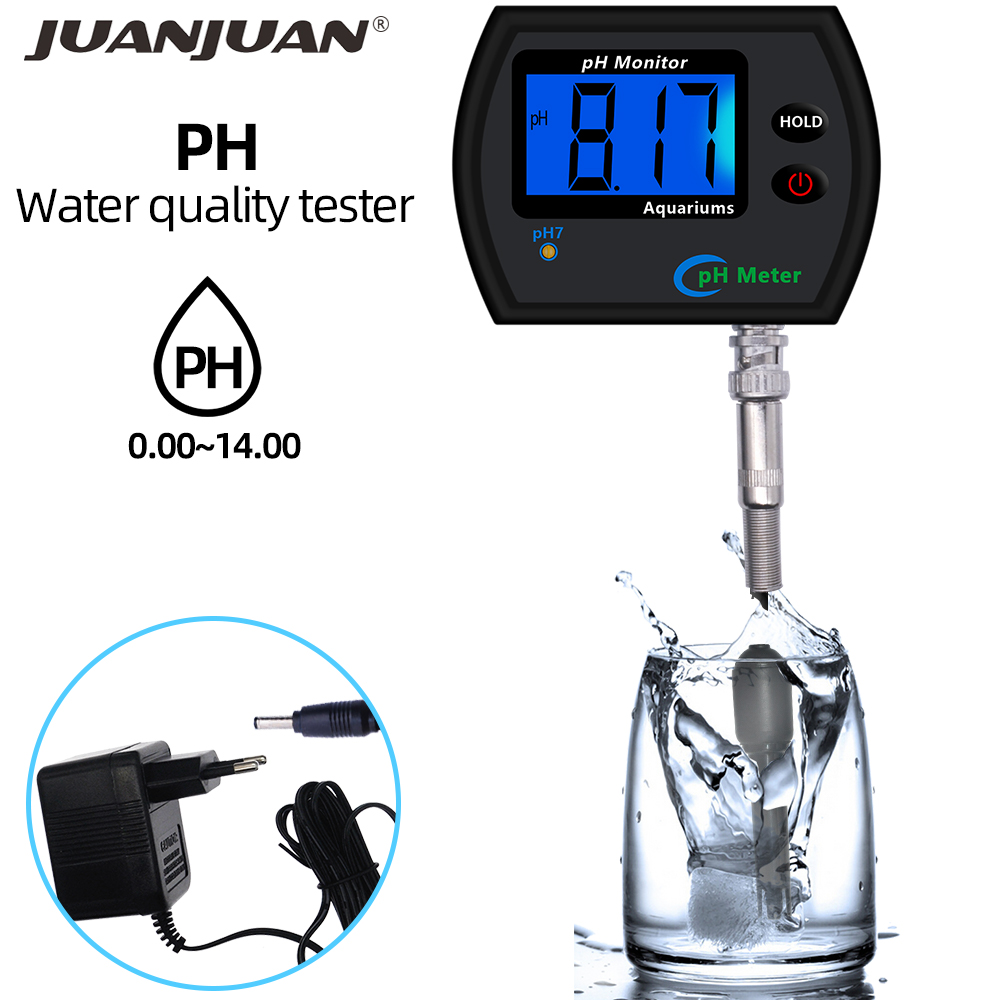 Multi-parameter Water Quality Monitor Tester Large Screen Digital PH Meter For Aquarium Acidometer With Plug 40% Off