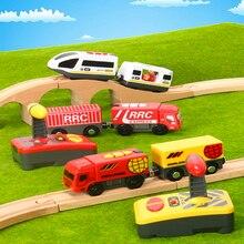 Радиоуправляемая электрическая магнитная железная дорога со звуком и светильник для экспресс-грузовиков, деревянная железная дорога для поезда, Детская электрическая игрушка, детские игрушки