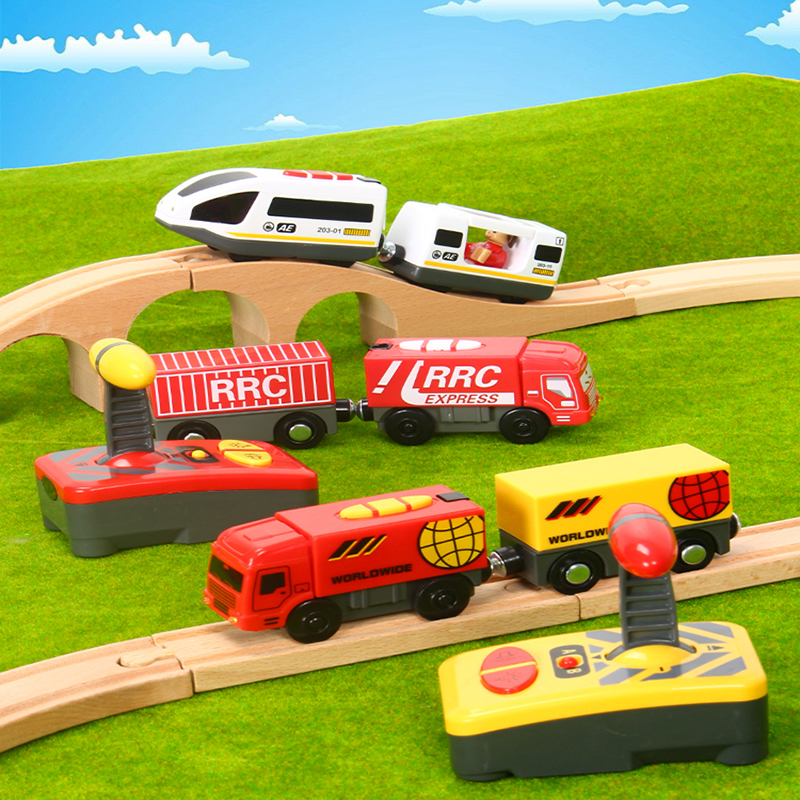 RC Electric Magnetic Railway With Carriage Sound And Light Express Truck FIT Wooden Train Track Children Electric Toy Kids Toys