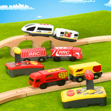 RC Electric Magnetic Railway With Carriage Sound and Light Express Truck FIT Wooden Train Track Children Toy Kids Toys
