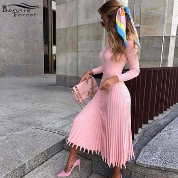 Bonnie Forest Elegant Long Sleeve Pleated Sweater Pullover Dress 2019 Winter Womens Retro Knitted Long Maxi Dress Streetwears