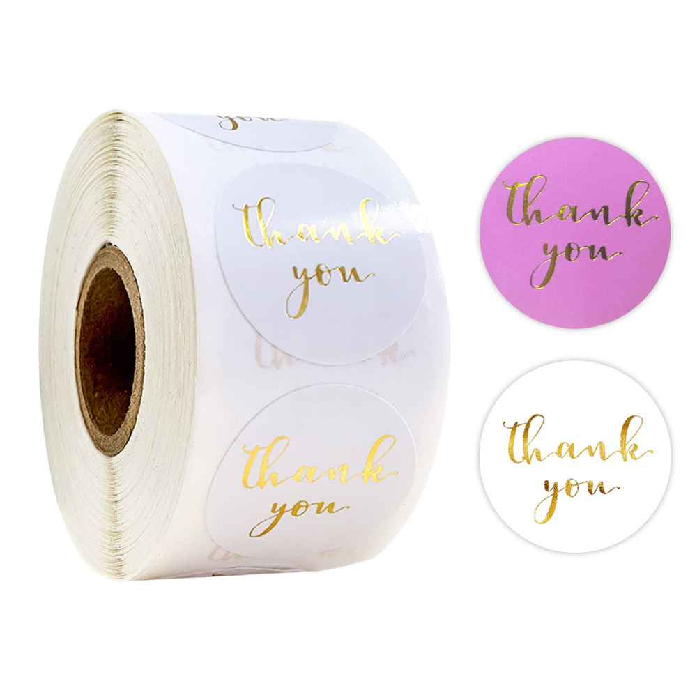 500 Pcs/roll Thank You Stickers Seal Lanels With Cute Round Gold Foil Purple Or White Stickers Scrapbooking Stationery Stickers