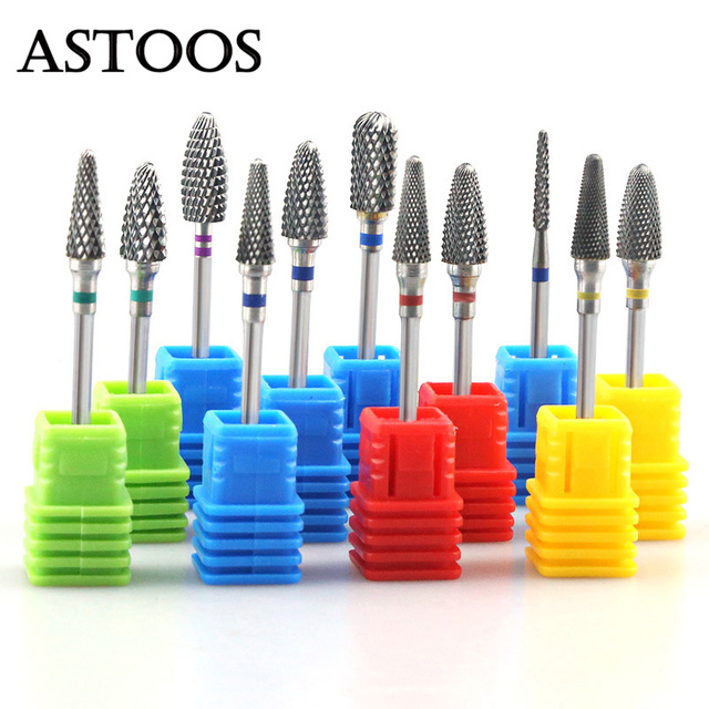 Rainbow Tungsten Carbide Nail Drill Bit Ceramic Burr Electric Nail Bit Mills Cutter for Manicure Machine Nail Files Accessories