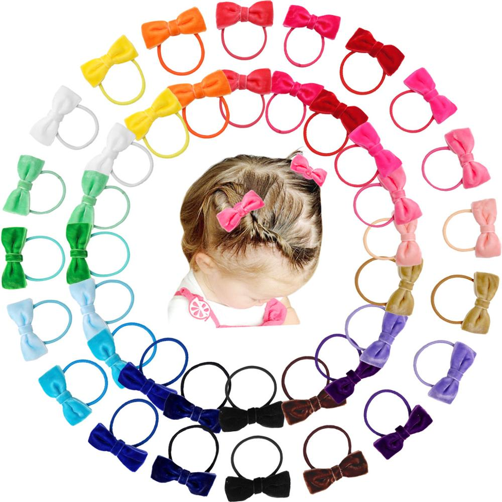 40 Pieces Babies Tiny 2 Inches Velvet Hair Bows Rubber Bands Hair Ropes Ponytail Holders For Baby Girls Infant Kids Hair Acessor