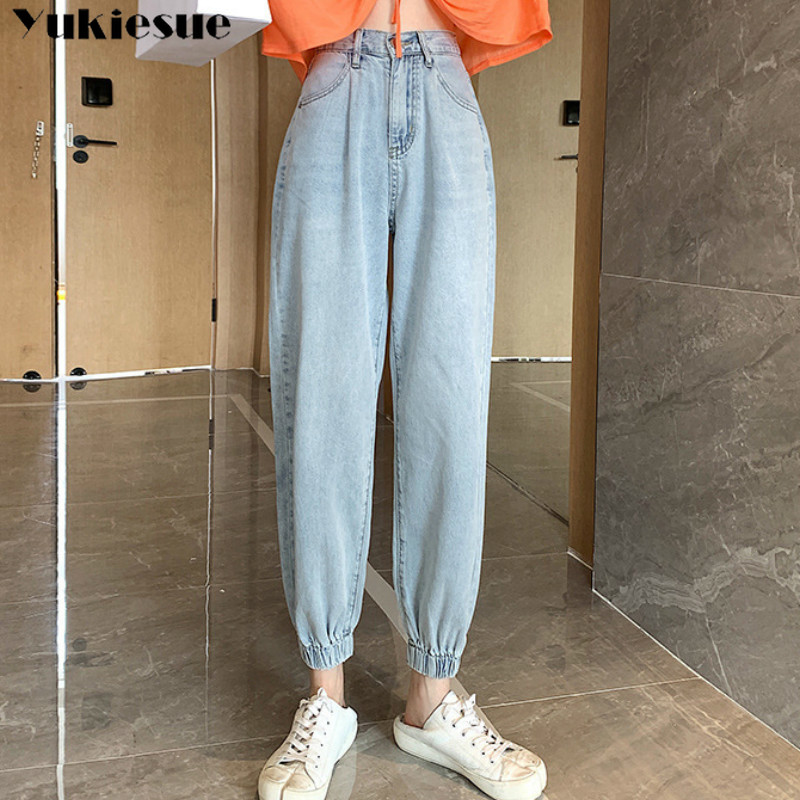 High Waist Jeans Woman Harem Jeans Womens Plus Size 32 Cowboy Mom Pants Jeans For Women 2019 New Spring Elastic Waist Plus Size