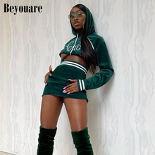 Beyouare Corduroy Slash Neck Two Piece Set Women Sexy Long Sleeve Cropped Tops And Elastic Waist Mini Skirt Elegant Casual Suit