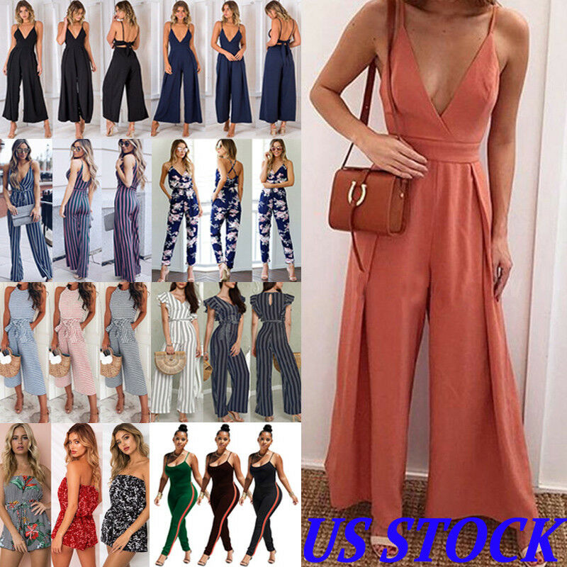 Women Sexy Casual V Neck Loose Playsuit Jumpsuits Bodysuits WOMEN Romper Party Ladies Romper Sleeveless Long Jumpsuit S-XL