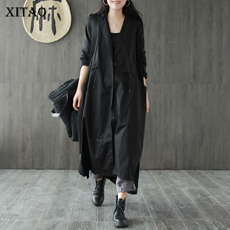 XITAO Plus Size Drawstring Bandage Trench Women Clothes 2020 Spring New Plus Size Pocket Match All Long Trench Coat ZLL4854