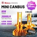 Bullvision 20000LM H7 светодиодный фары Canbus Error Free 4300K 5000K 6000K 8000K авто лампы H1 H3 H4 H11 H8 H9 9005 9006 HB3 HB4