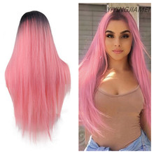 Non-lace Long Straight Synthetic Wig Ombre Pink Hair For Women Middle Part Hair Heat Resistant Fiber Party Daily Bundle Hair Wig