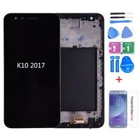 Original para lg k10 2017 m250n x400 display lcd com digitador da tela de toque com quadro m250 m250ds lcd para lg k10 2017 k20 mais