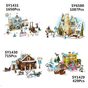 Image 1 - Amigas SY1429 SY1430 SY1431 SY6580 Castillo de la princesa de la nieve Anna Olaf City, tienda de comestibles, bloques de construcción de ladrillos, regalos para niños