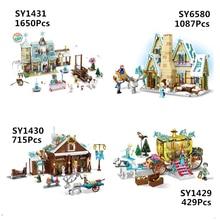 สาวเพื่อน SY1429 SY1430 SY1431 SY6580 หิมะปราสาทเจ้าหญิง Anna Olaf City ร้านขายของชำ Building Block อิฐของขวัญเด็ก