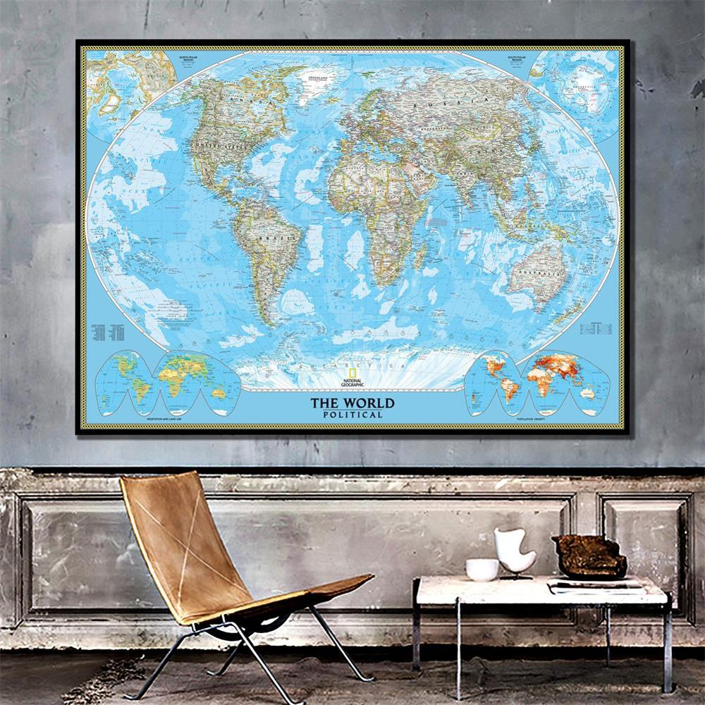 The World Political Map With Population Density 150x225cm Vinyl Spray Map Without National Flag For Culture And Education
