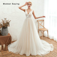 Sexy Sheer Ivory A Line V Neck Lace Trim Wedding Dresses 2019 Pleated Beads Bridal Gowns vestidos de noiva with Flowers