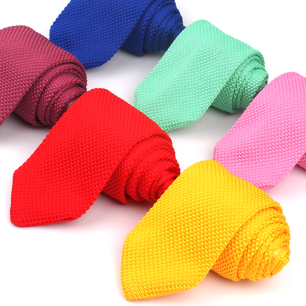 Red Knit Ties For Men Neck Tie For Wedding Business Casual Knitted Neckties Classic Suits Candy Color Neck Ties Gravatas