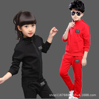 Kids Clothes Set Spring Autumn Girls Boys Long-sleeved Sports Suits Children Teenage Jacket+Pants 2pcs Sets Clothing Tracksuits iyeal newest 2018 spring autumn baby girls clothes sets denim jacket tutu dress 2 pcs kids suits infant children clothing set